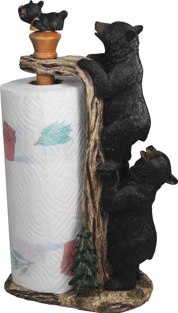 BLACK BEAR PAPER TOWEL HOLDER Home Decor Fishing Hunting Cabin Lodge Ranch RE844