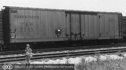 T&P, Texas & Pacific 50' Plug Door Boxcar, 3545 May 1960<br><small