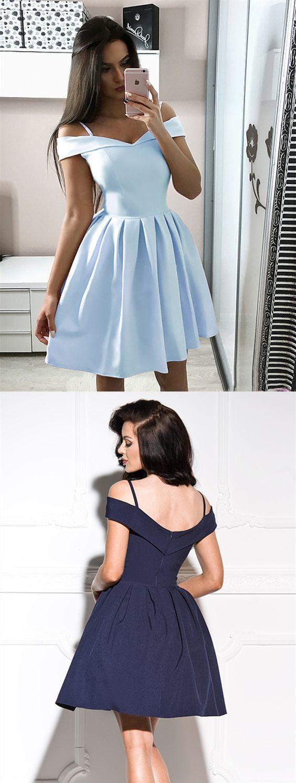 A Line Off Shoulder Short Light Blue/Navy Blue Prom Dresses, Short Blue Graduation Homecoming Dresses ML436