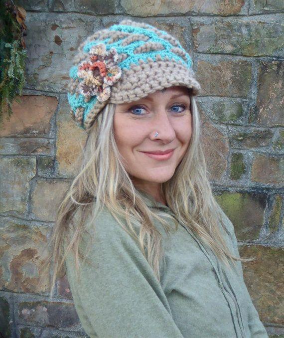 BOHEMIAN crochet slouch hat FLOWER cap NEWSBOY hat interwoven ...