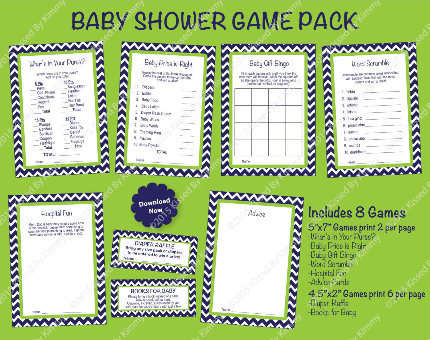 Blue And Green Baby Shower Game Pack Printable Boy Baby Shower