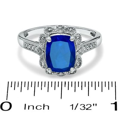 Cushion-Cut Lab-Created Sapphire Vintage-Style Ring in Sterling Silver -Size 7 - Peoples Jewellers