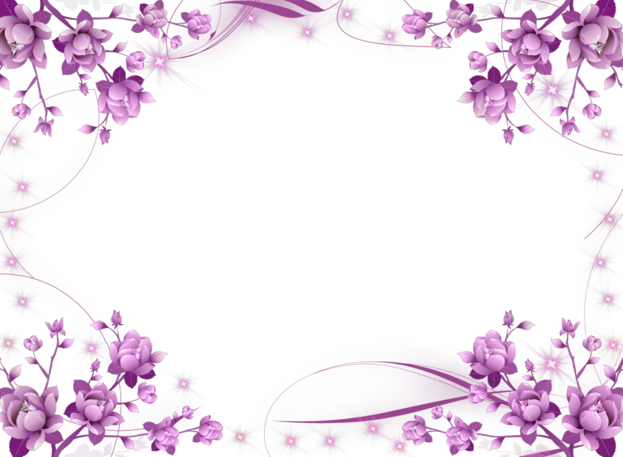 Purple Flowers And Sparkly Stars Picture Frame Png 1280 939 Flower Frame Flower Picture Frames Flower Border