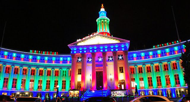 Denver City and County Building all lit up for Christmas!