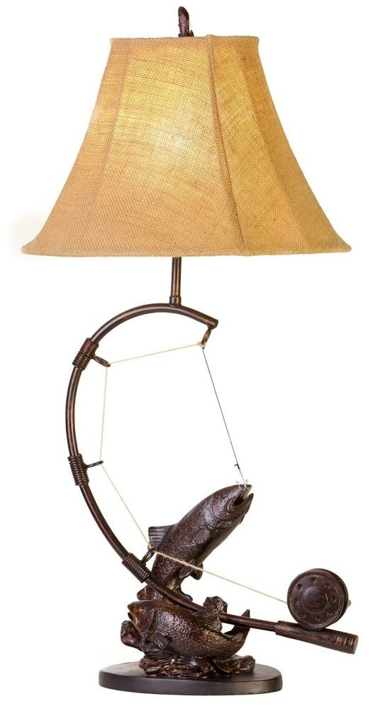 Fly rod trout fish table lamp fishing rustic cabin lake lodge fly rod trout fish table lamp fishing rustic cabin lake lodge decor na rusticcabinlodge mozeypictures Images