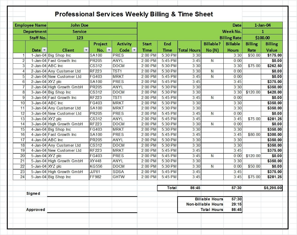 Professional Services Billing Timesheet Excel Template Why