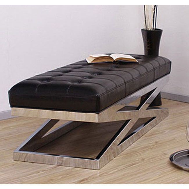X Bench Modern Luxury Chrome Leather Tufted Furniture Home