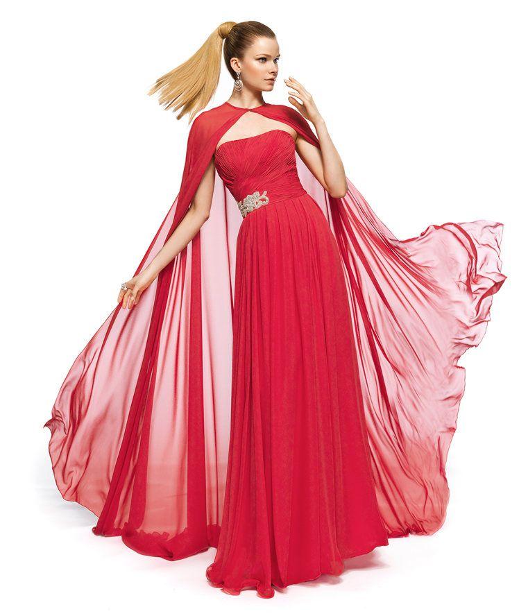 vestido fiesta capa roja | Vestidos | Pinterest | Vestido griego ...