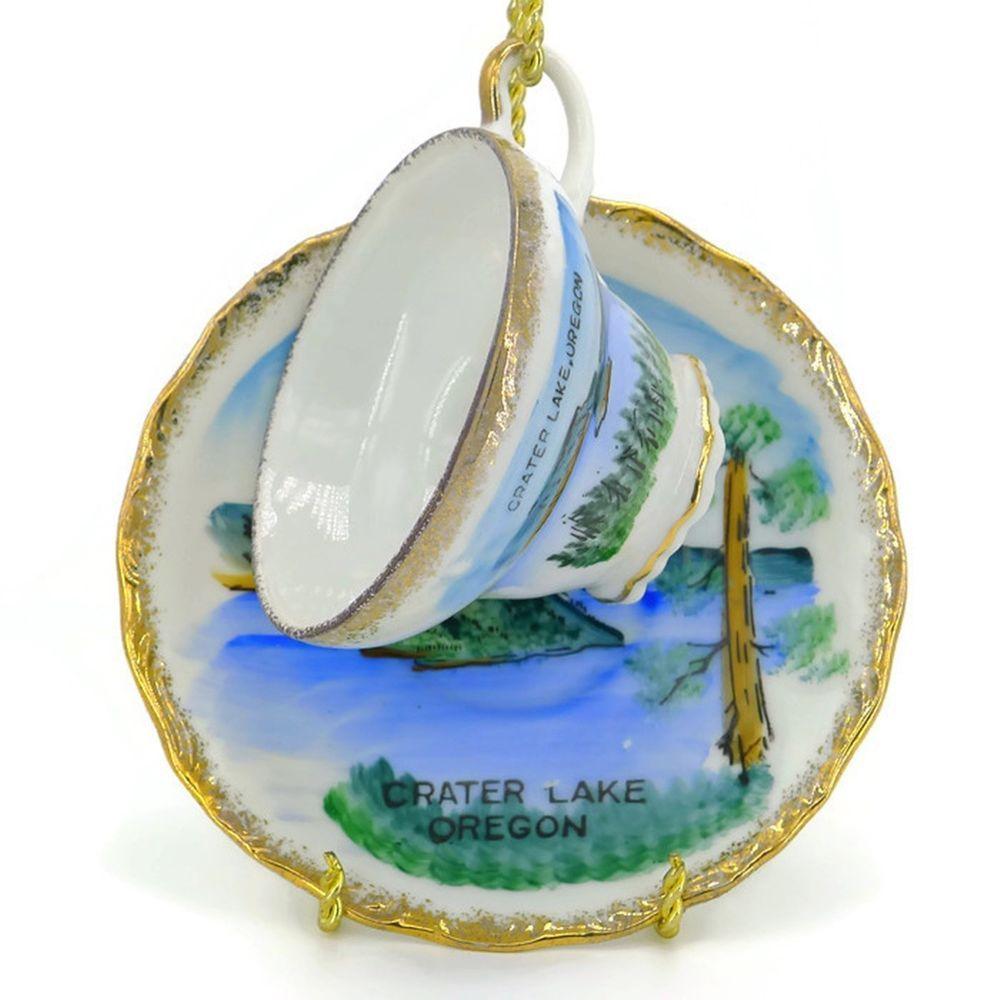 Details about Vintage Wizard Island Crater Lake Oregon Cup Saucer Set Souvenir Japan EFCCO #craterlakeoregon