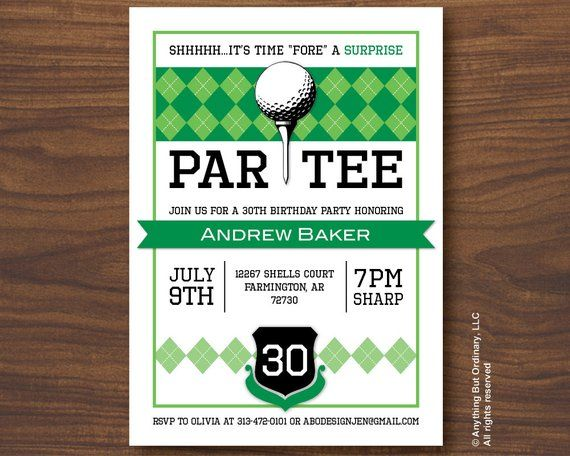 Golf Surprise Party Invitations Printable Birthday ParTEE Invite
