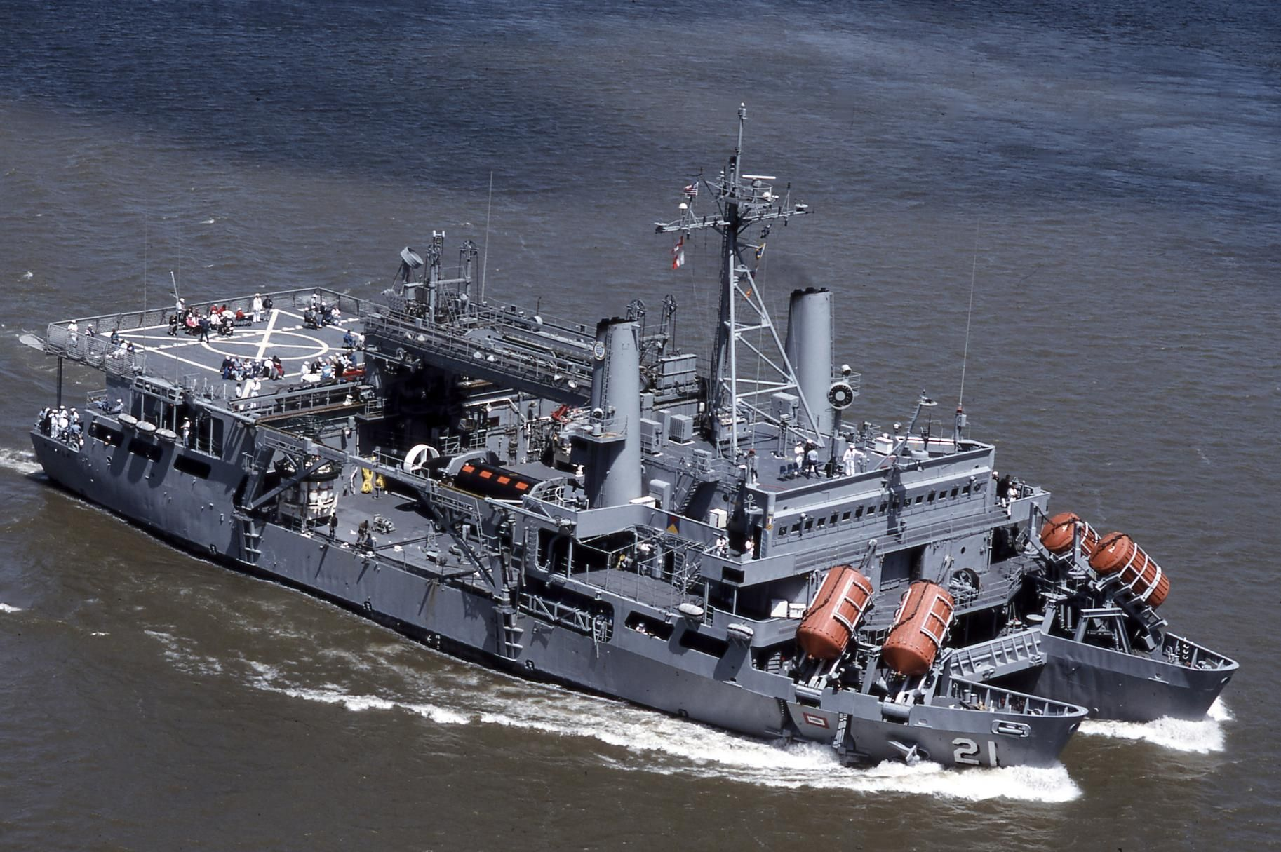 The uss pigeon asr 21 a submarine rescue ship note the dsrv