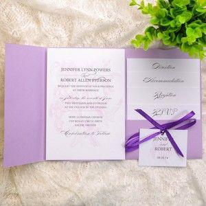 Lavendar Pocket Pink Simple Fl Spring Wedding Invitations Ewpi119