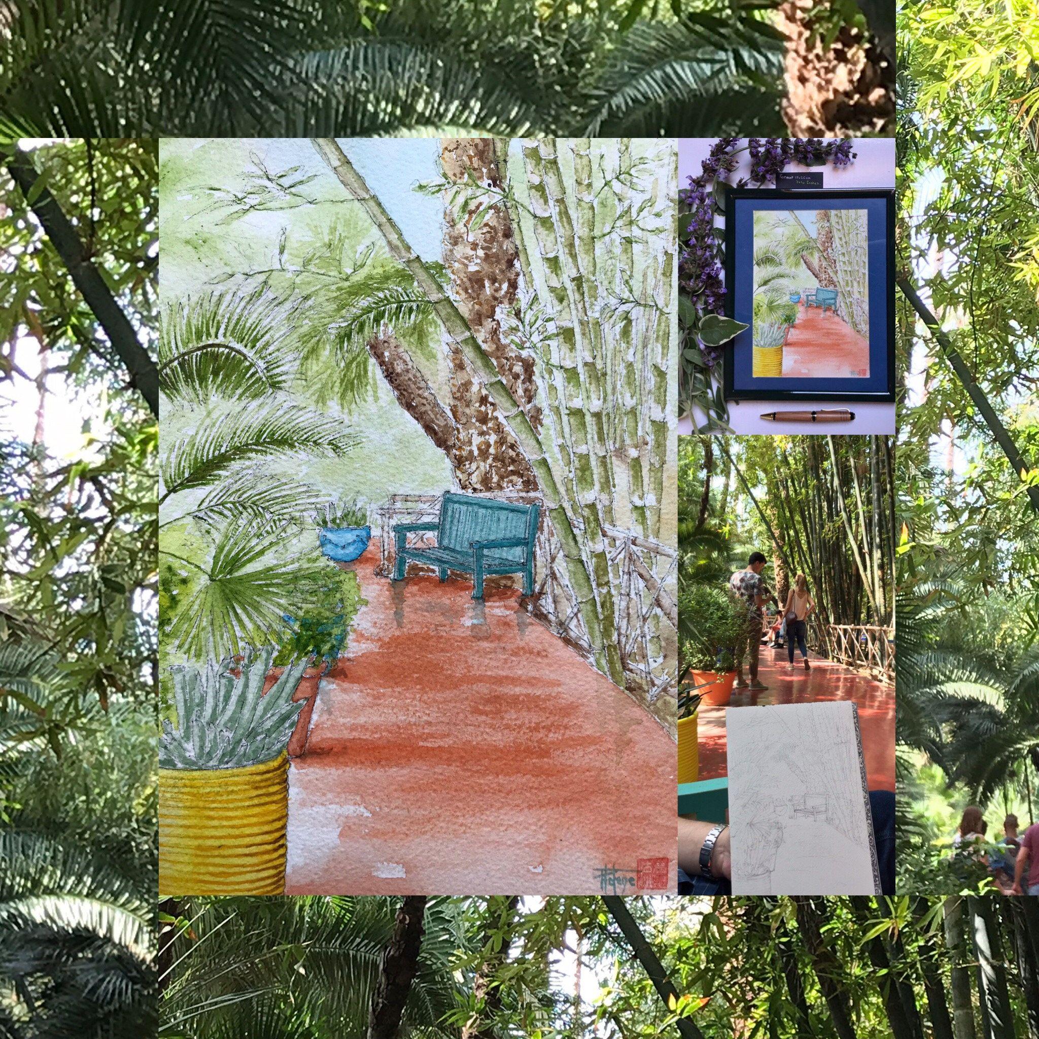 Original Watercolor Hand Painted Majorelle Gardens Size 18x26cm