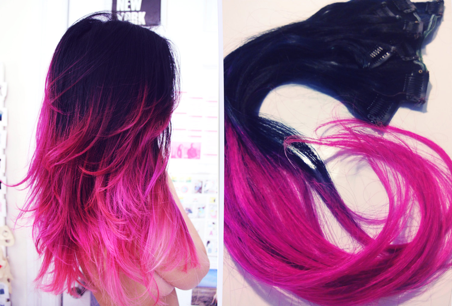 Ombre Hair Extensions Jet Black Hot Pink Hair Makeup