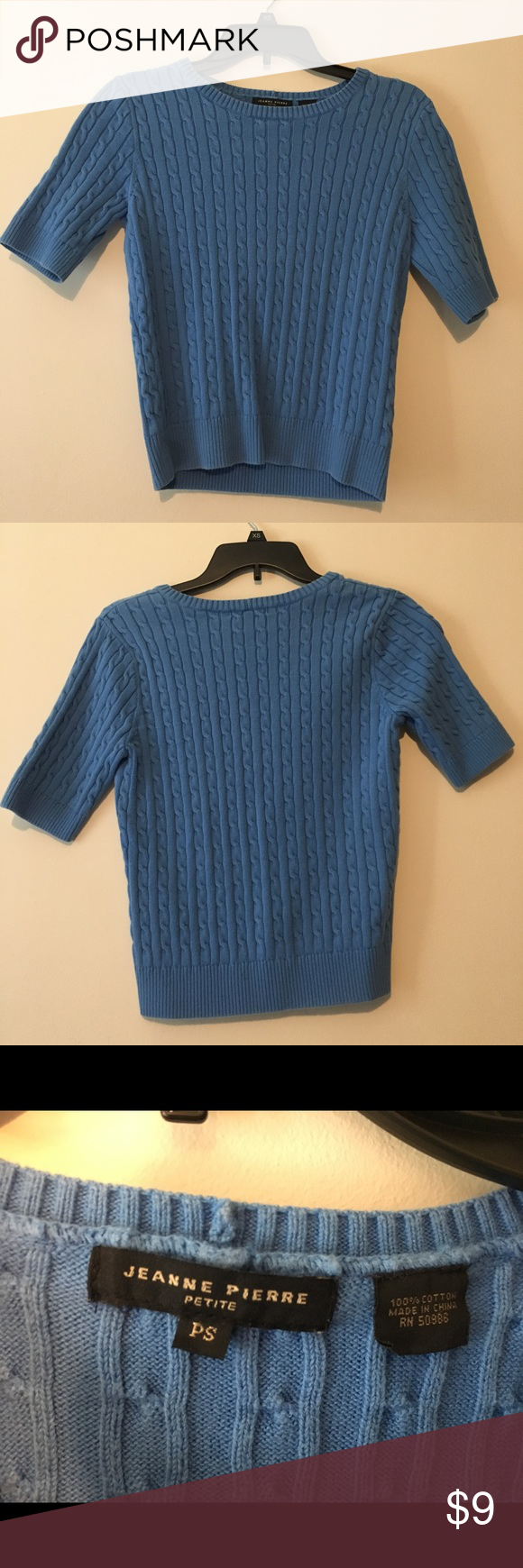 short sleeve sweater Size petite small light blue Jeanne Pierre ...