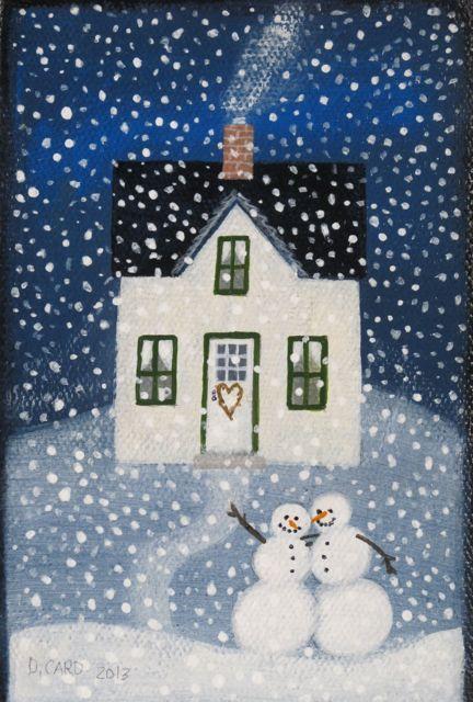 Happiness 3x5 Acrylic On Canvas Arte De Navidad Pintura Navidena Dibujo De Navidad