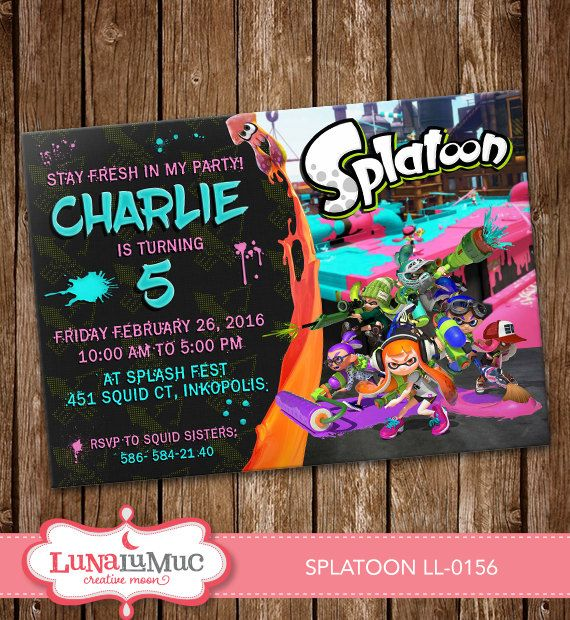 Splatoon Invitation Card Party Invitation Splatoon by Lunalumuc - fresh invitation card of birthday
