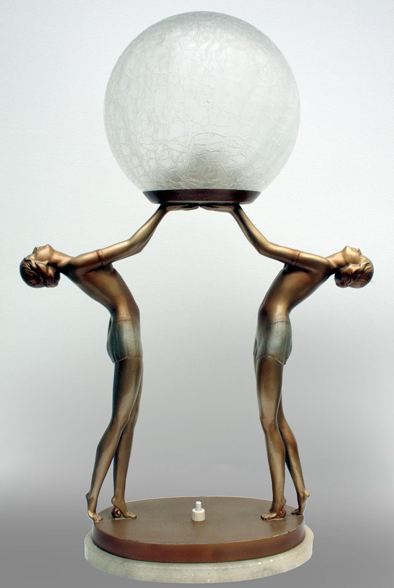 Lorenzl Art Deco Spelter Double Figure Lamp Art Deco