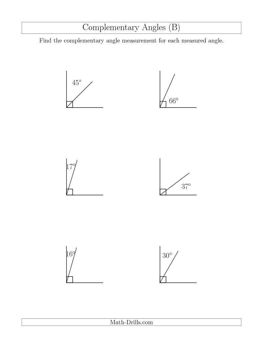 Complementary Angle Relationships B Complementary Angles Angle Relationships Relationship Worksheets