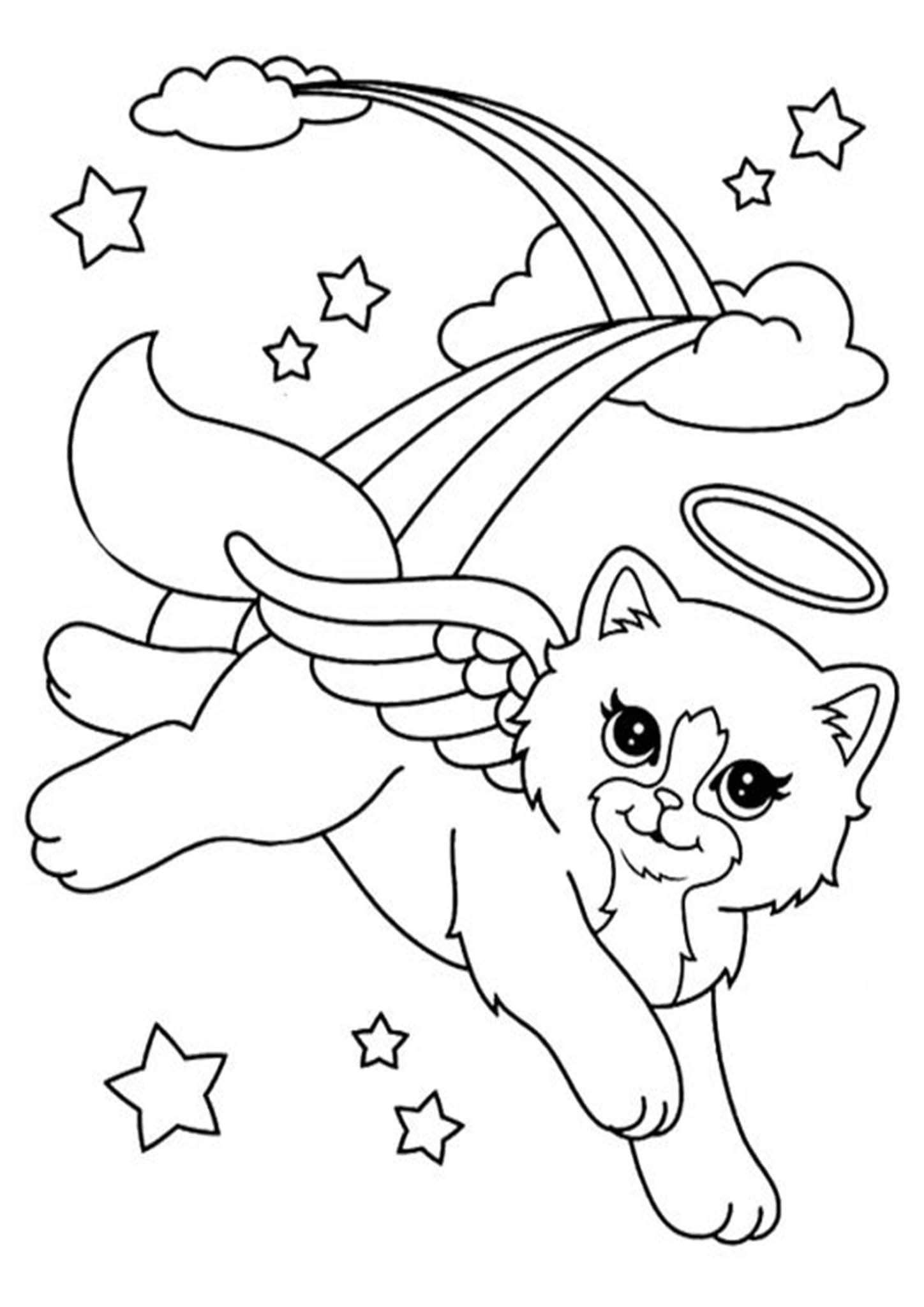 Free Easy To Print Rainbow Coloring Pages Unicorn Coloring Pages Cat Coloring Page Angel Coloring Pages