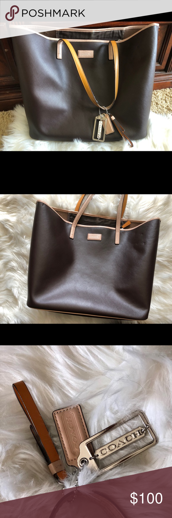 3dd0491c5fa08 Coach Park Metro Tote Bag Dark Brown Dark brown leather coach metro tote bag.  Brown