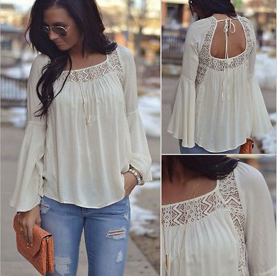 Long Sleeve Casual Loose Shirts Tops Summer Blouse Tee Top Brief ...