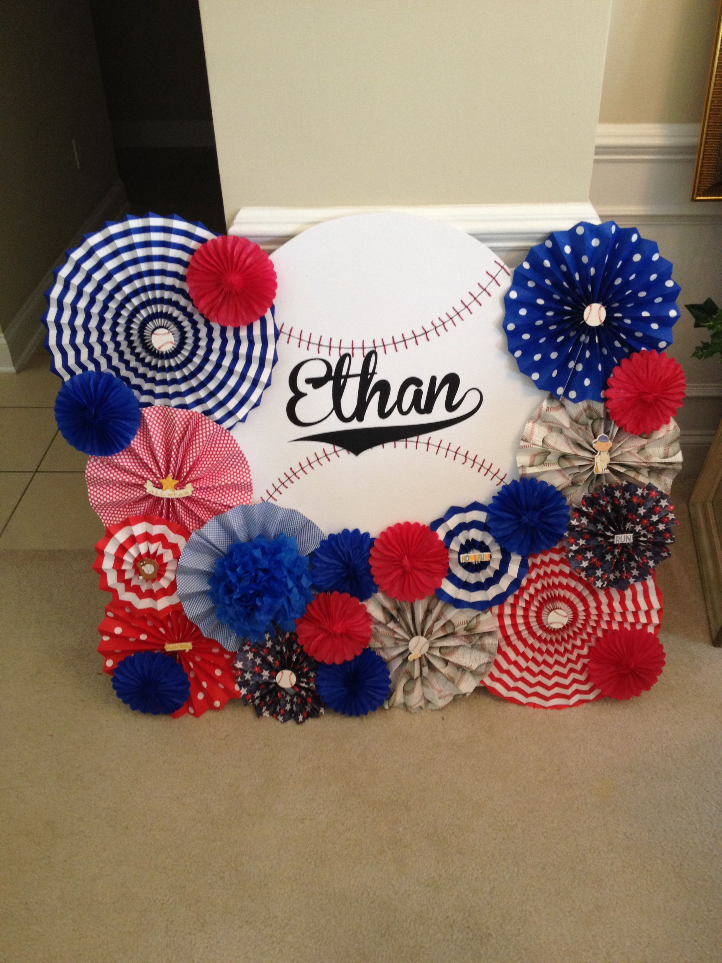 Baseball Theme. Baseball Party Backdrop. Baby Shower. Dessert Table Decor.  Paper Rosette