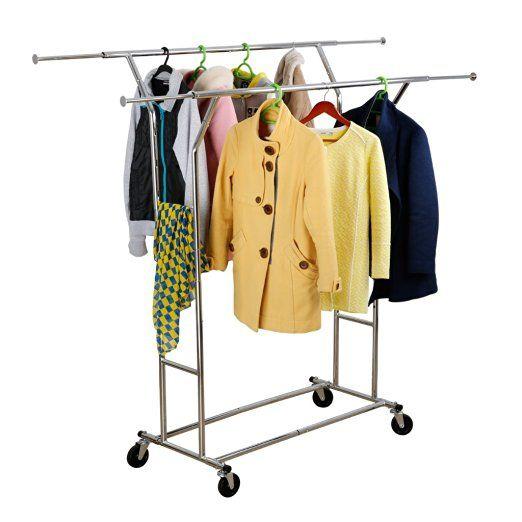 Amazon LANGRIA Double Rail Garment Rack Rolling Commercial Grade Clothing Chrome Finish Home Kitchen