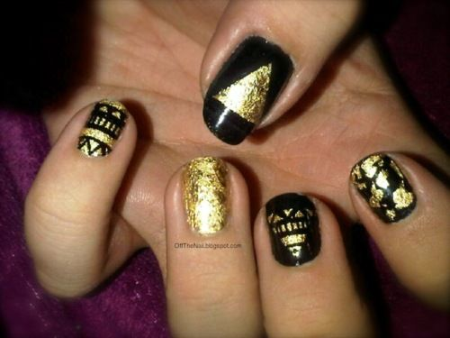 Gold Leaf Nail Art Actually Very Simple And Effective Loved The