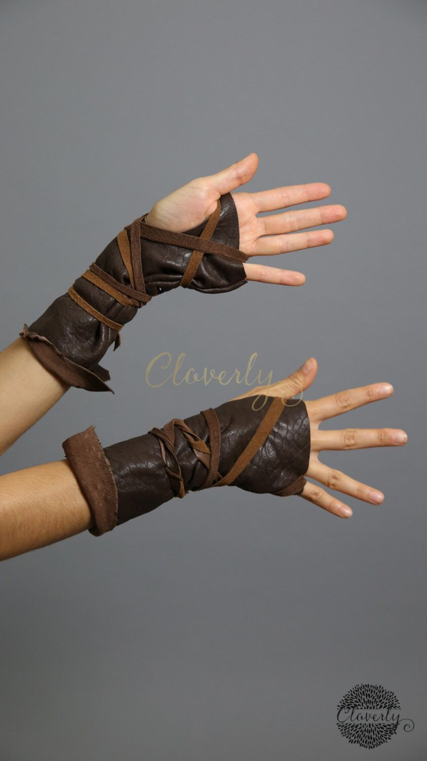 Black leather gloves dark souls - Dark Brown Fingerless Leather Gloves Long One Of A Kind Ready To Ship