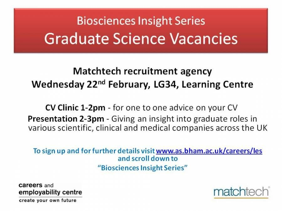 Biosciences Insights with MatchTech Wed 22nd February 2012
