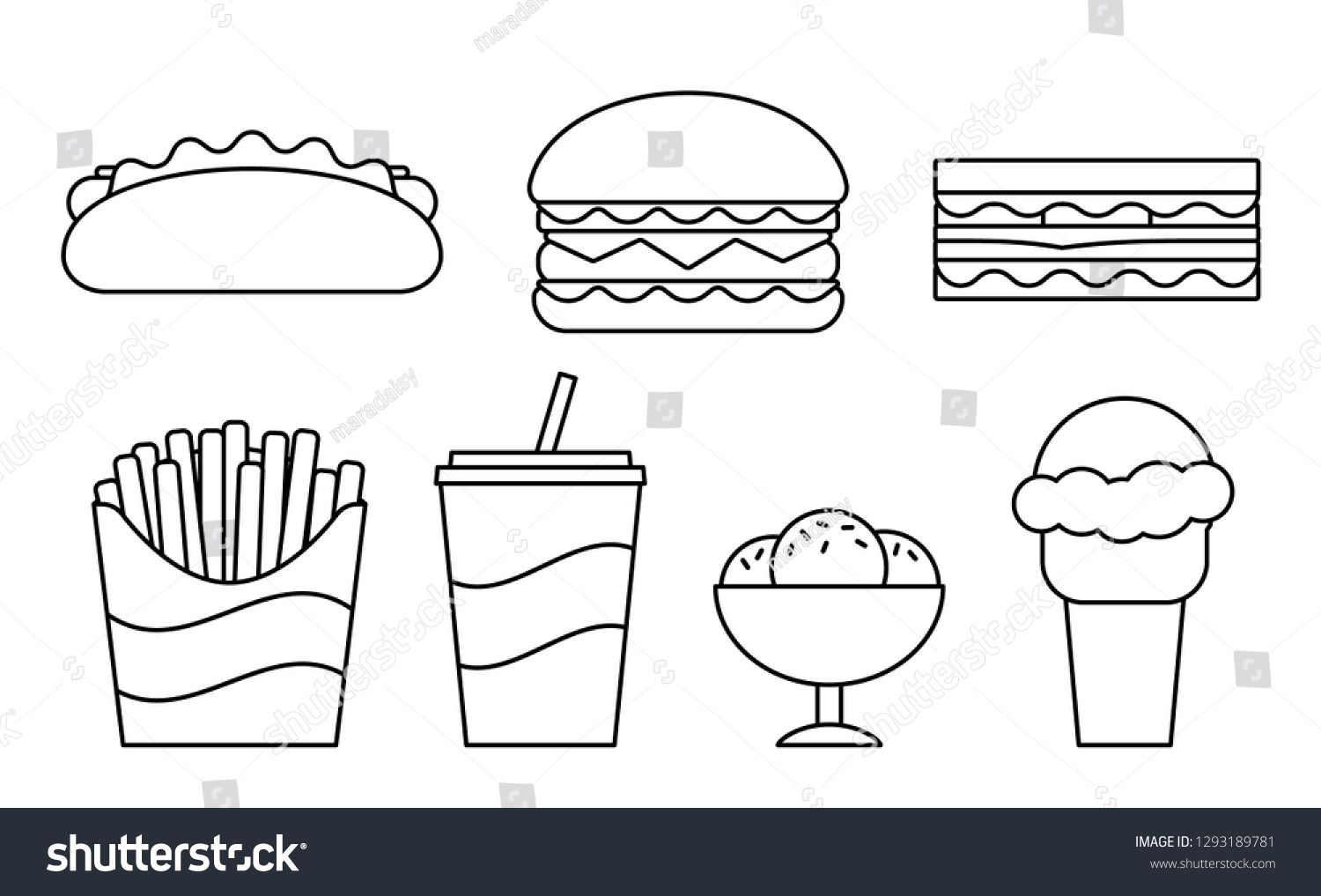 Pin By Taibe Hoxha On Math Fast Food Line Icon Clipart Black And White