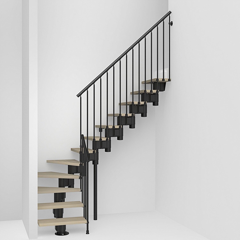 Escalier 1 4 Tournant Bas Revers Acier Noir Long 12 Marches Orme