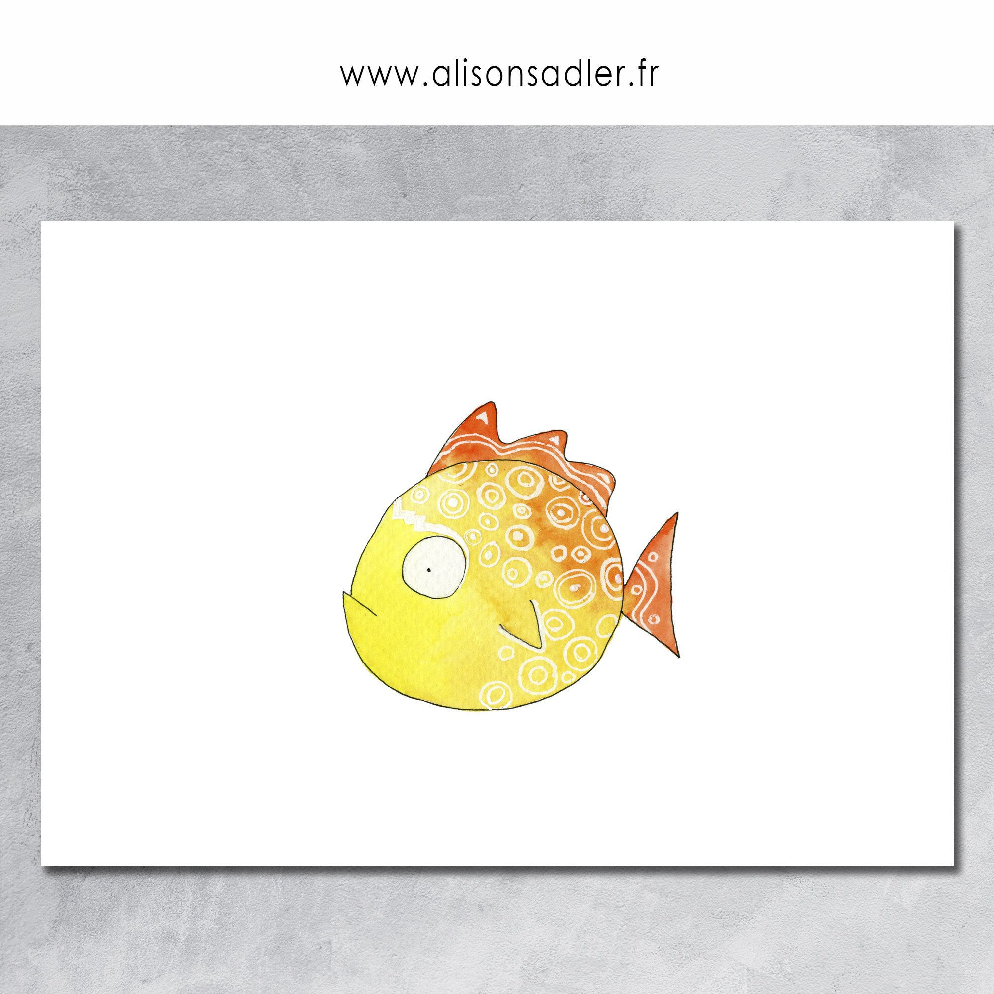 Yellow Fish Posters Art Prints Prints Gift Illustration