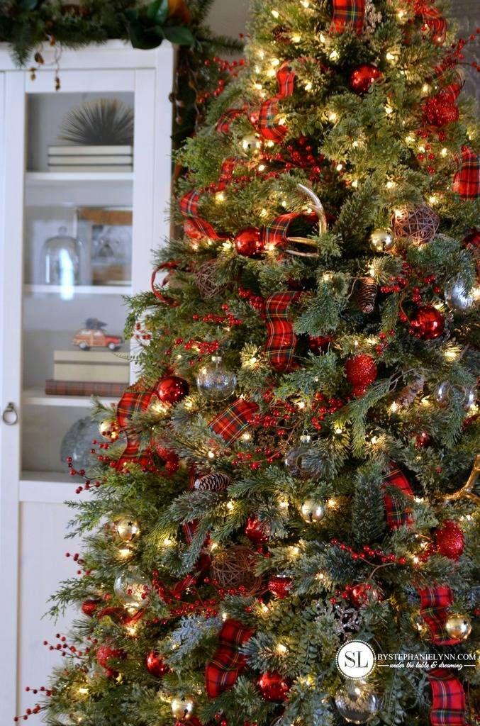Traditional Red Tartan Plaid Christmas Tree Christmas