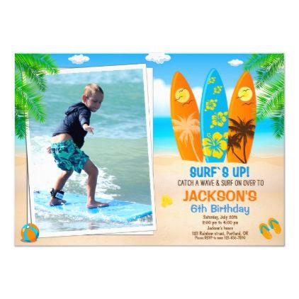 Photo Surfing birthday invitation Surfboard invite | Zazzle.com #surfsup