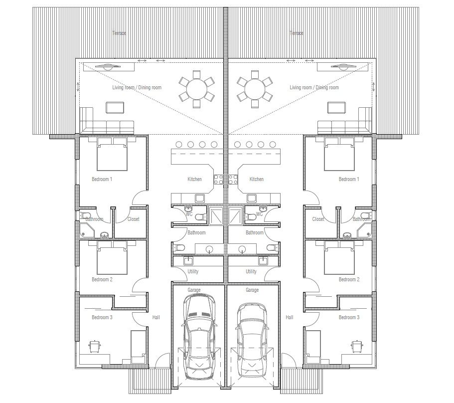 house design semi-detached-house-plan-ch120d 5 | Bungalow ...