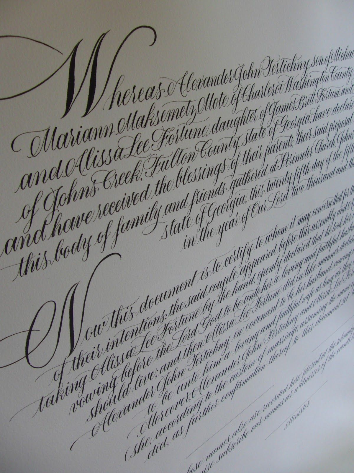Ooh A Whole Paragraph In Spencerian 3 Quaker Wedding