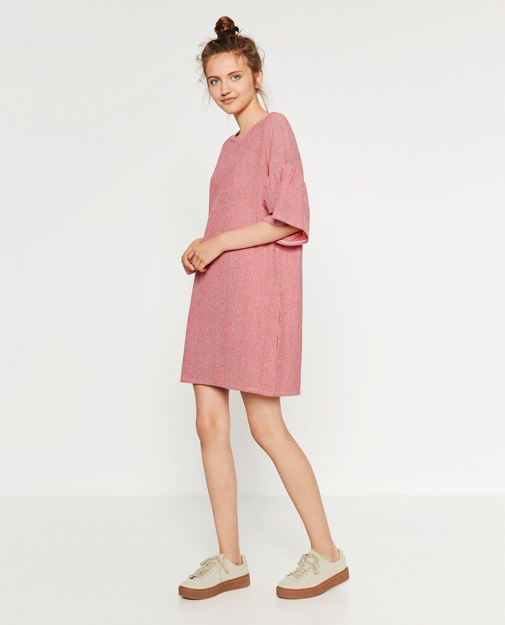 Imagen 1 de VESTIDO MANGA VOLANTE de Zara | Moda | Pinterest ...