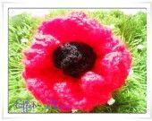 Broche Fleur Pomponette Rouge Au Coeur Noir Tres Belle Broche Toute