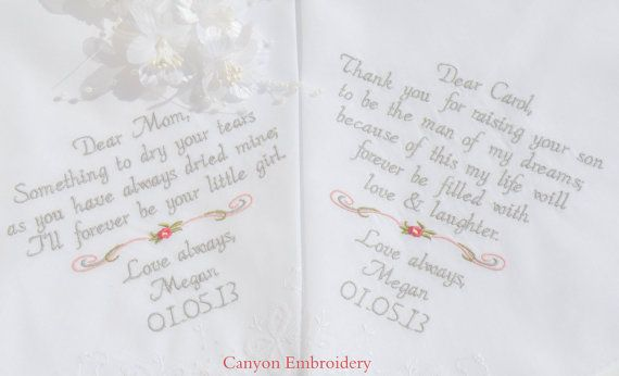 Embroidered Wedding Hankerchief Mother of the by CanyonEmbroidery