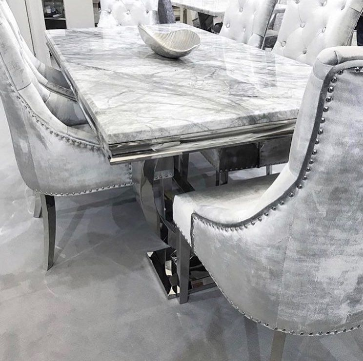 Our Grey Arianna Marble Dining Table Delivery Available Instore