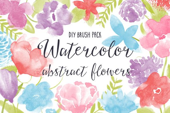 Watercolor Flowers And Paint Brushes: Check Out PS Brush Pack: Watercolor Flowers By Khandishka
