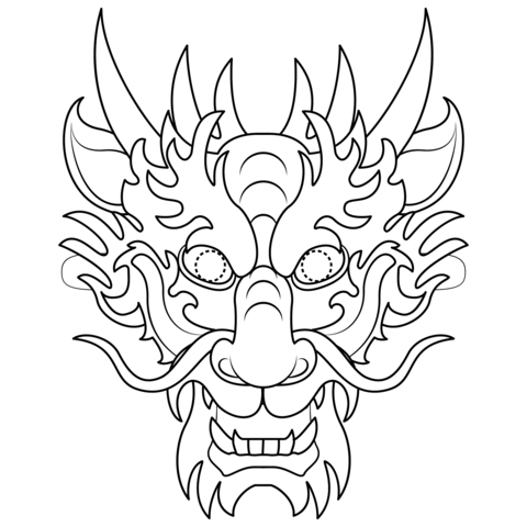 Chinese Dragon Mask Coloring Page Chinese Dragon Art Dragon Mask Dragon Coloring Page