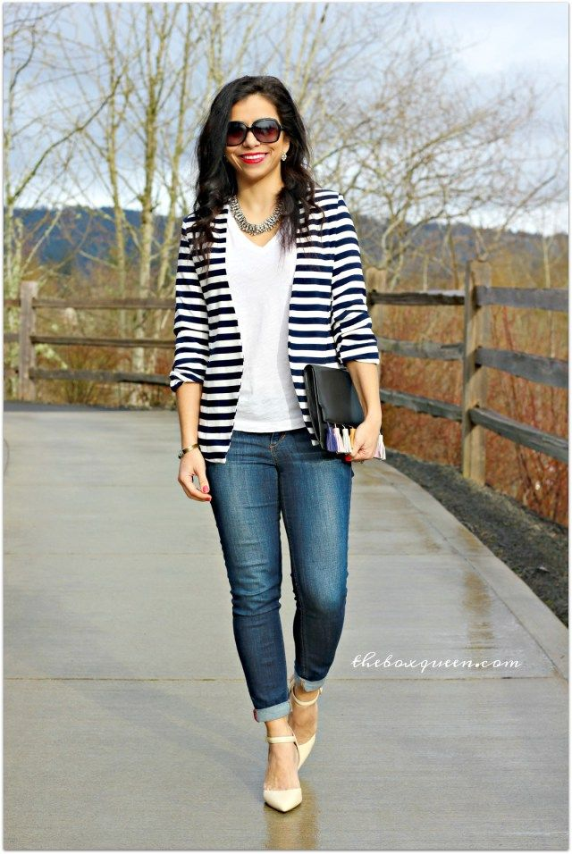 HOW TO WEAR A STRIPED BLAZER FOR SPRING | Casual Blazer Striped Blazer And Spring Style