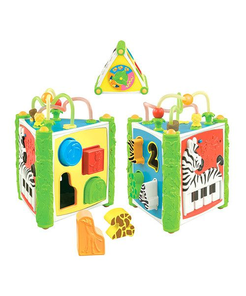 Help small sweeties improve their fine motor skills and hand-eye coordination with this cheerful shape sorter. Designed with vibrant colors and an assortment of enchanting animal friends and delightful tunes, it'll develop little ones' reasoning ability as they spend their playtime learning more.