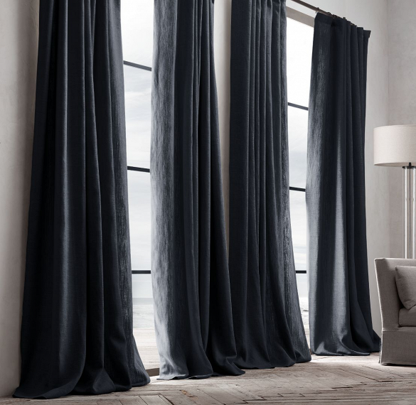 Black Curtain For Bedroom Restoration Hardware Belgian Textured Linen French Pleat Drapery Pic 5