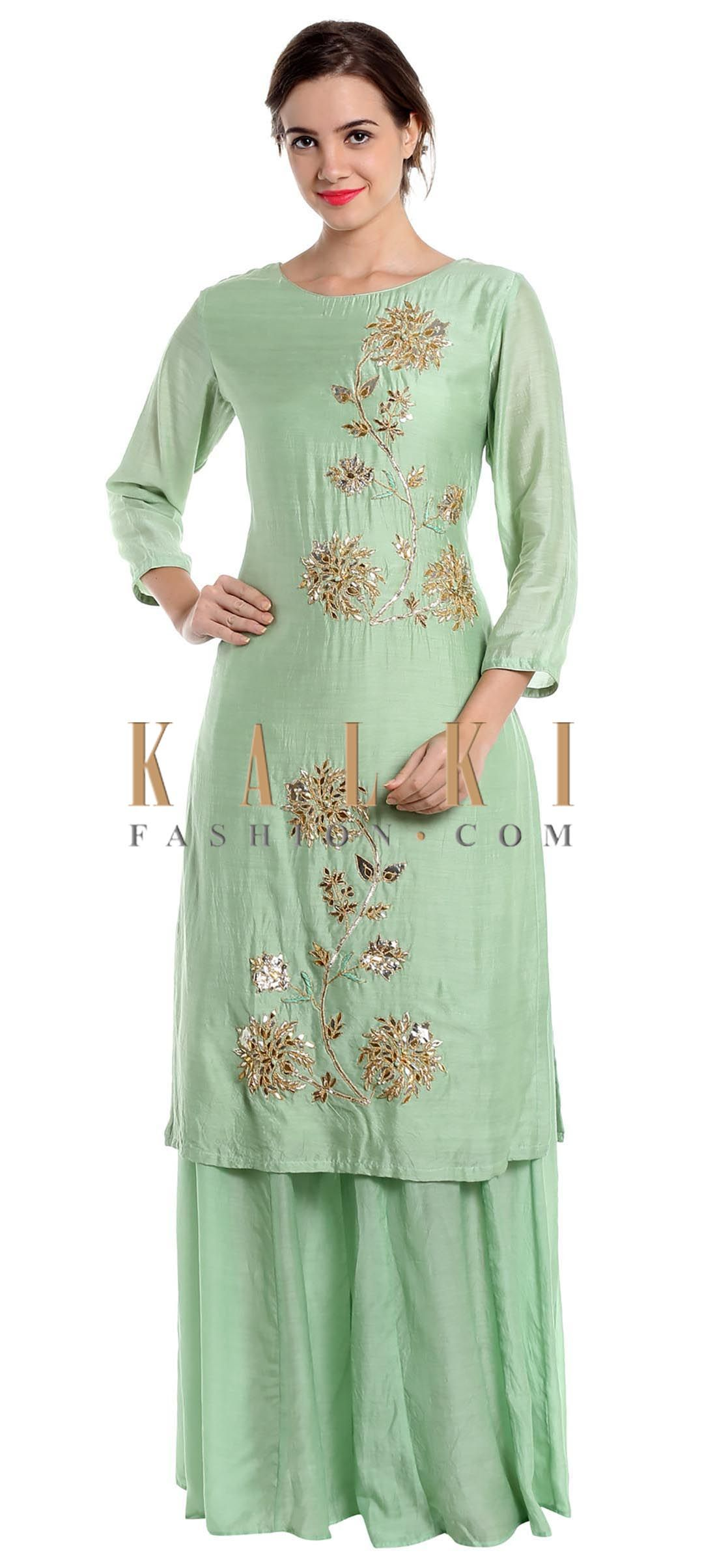 0916a2aadc Pista green cotton silk palazzo suit with zardosi and gotta patch work only  on Kalki