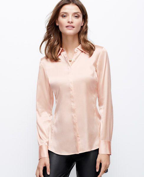 1afe9b0fb348ac Ann Taylor, Silk Legacy Blouse in Illusion Pink, $120 | wardrobe ...