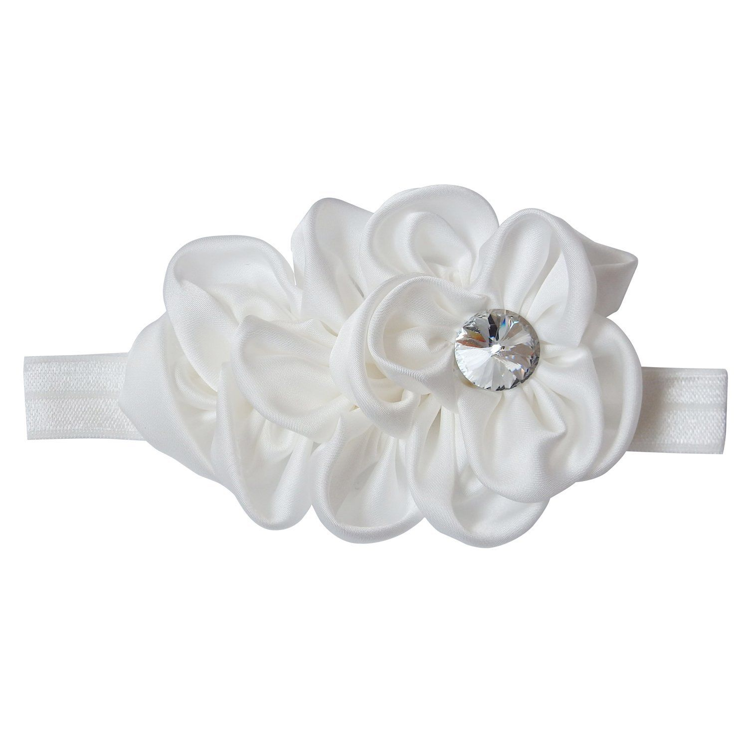 Rarelove Baby Girls Headband White Ribbon Flower With Rhinestone